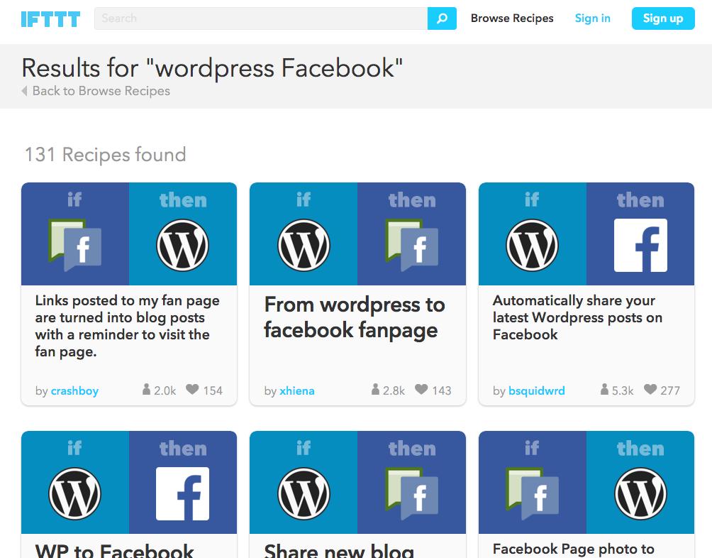IFTTT - WordPress to Facebook