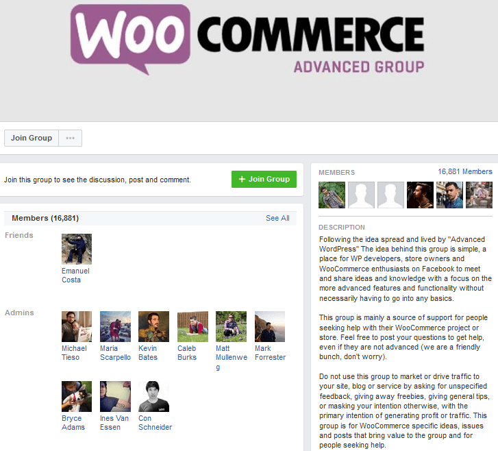 The Advanced WooCommerce Facebook group offers WooCommerce help